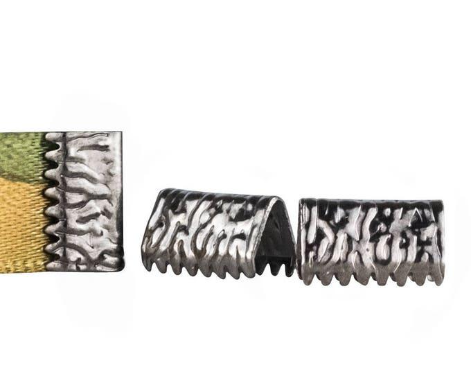 10mm  (3/8 inch)  **50pcs.** NO LOOP **  Ribbon Clamp End Crimps  Gold, Silver, Gunmetal, Bronze, Copper or Mixed - Artisan Series