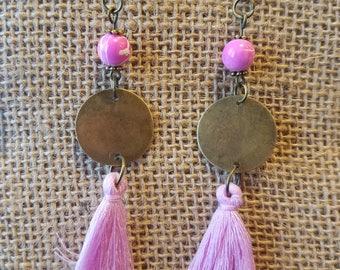 "Trendy pink beads and tassel with 15"" bronze metal disc drop earrings"