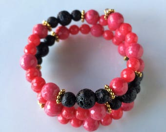 Wire Beaded Wrap Diffuser Bracelet, Hot Pink Jade