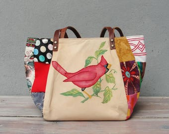 Woodland Bird Bag - Vintage Embroidery and Patchwork with Leather Straps