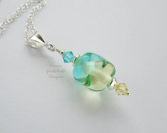 Blue and yellow lampwork necklace, glass twist pendant, sterling silver necklace, blue green yellow, gift for her, bridesmaid gift, delicate