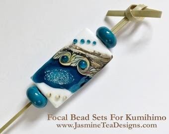 Teal Stardust Kalera Focal Bead With Teal Spacer Beads, Large Hole Focal Beads, 3 Piece Focal Grouping Set, Focal Beads For Kumihimo