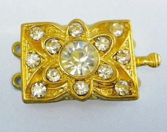 Gold Rhinestone Clasp Two Strand Clasp Vintage Swarovski Crystal C-9
