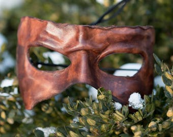 Brown Leather Masquerade Mask