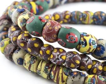 105 Rare Round Mixed Venetian Millefiore Beads: Venetian Trade Beads Old Trade Beads Antique Trade Beads Ethnic Glass Beads African Beads