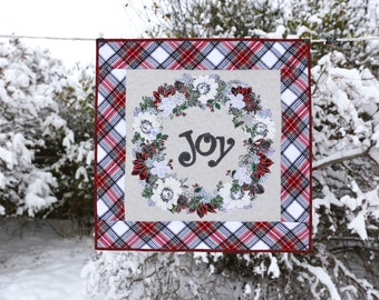 MarveLes JOY in CHRISTMAS PLAID Please My Minds Eye Riley Blake Plaid Holiday Winter Quilt Wall Hanging Poinsettia Home Decor