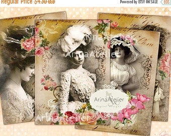SALE - 30%OFF - TAGS Romantic Vintage Women - Digital Atc Cards - Tags - Download Collage Sheet - Printable Sheet - Vintage Collage Images