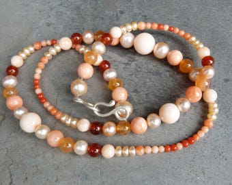 silver necklace with fresh water pearls, cornelian, coral; IMPORTANT, French vat is included,20% off for US, australian and canadian buyers