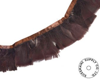 """Feather Trim - Turkey Marabou Feather Fringe Trims - Dark Brown - 4""""-4.5"""" (1 yard)"""