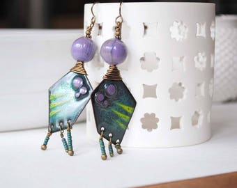 Large Tribal Purple Earrings, Artisan Enamel Earrings, Funky Chandelier Earrings, Modern Earrings, Geometric Earrings, Trapezoid Earrings