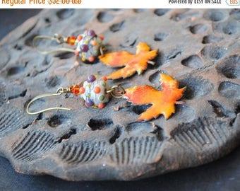 SALE Fall Maple Leaf Earrings, Earthy Woodland Earrings, Artisan Enamel Earrings, Lampwork Glass Earrings, Boho Chic Earrings, Nature Earrin