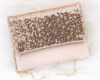 Rose Gold Bridal Purse, Sequin Wedding Handbag with Pearl Strap, Ready To Ship