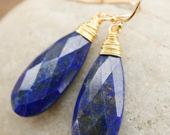 ON SALE Gold Blue Lapis Earrings - Wire Wrapped Teardrops - Royal Blue and Gold