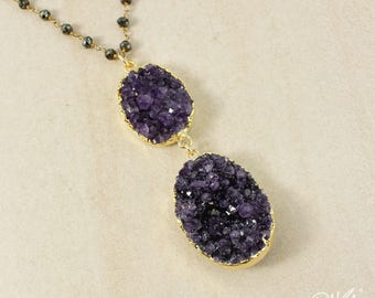 50% OFF SALE - Gold Purple Amethyst Geode Necklace on Black Pyrite Chain - Layering Necklace, February Amethyst, Birthstone Necklace