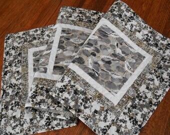 Bird Quilted Table Runner in Black White and Gray, Modern Table Runner, Beach Home Decor, Dresser Runner, Coastal Home Decor