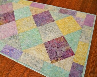 Easter Decorations, Spring Quilted Table Runner, Aqua Purple Yellow Gray, Easter Table Decor, Pastel Colors, Quilted Tablecloth