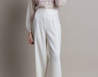Vintage 80s Ivory Wool Wide Leg Trousers | 4