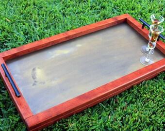Brass Serving Tray. Brass Ottoman Tray. Antique Brass Serving Tray. Antique Brass Ottoman Tray. Cherry Ottoman Tray. 14w x 25l Cherry Finish