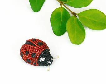 Ladybug Figurine Miniature Beaded Woodland Fantasy Decor Animal Totem Stocking Stuffer *READY TO SHIP