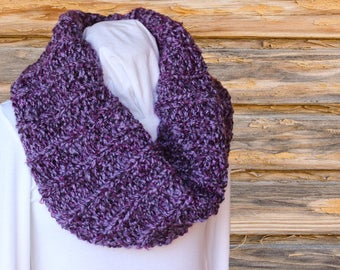 Purple Cowl, Chunky Knitted Cowl, Purple Scarves, Soft Chunky Hand Knit Cowl, Infinity Scarves, Winter Knit Accessories, Gift for Her