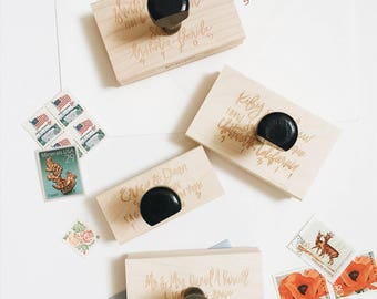 Hand Lettered Return Address Stamp - Custom - Calligraphy - Wooden Stamp - Stationery