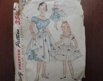 Vintage Simplicity 3838 Sewing Pattern 1950s Girls Fit and Flare Tiered Dress and Overskirt Size 8