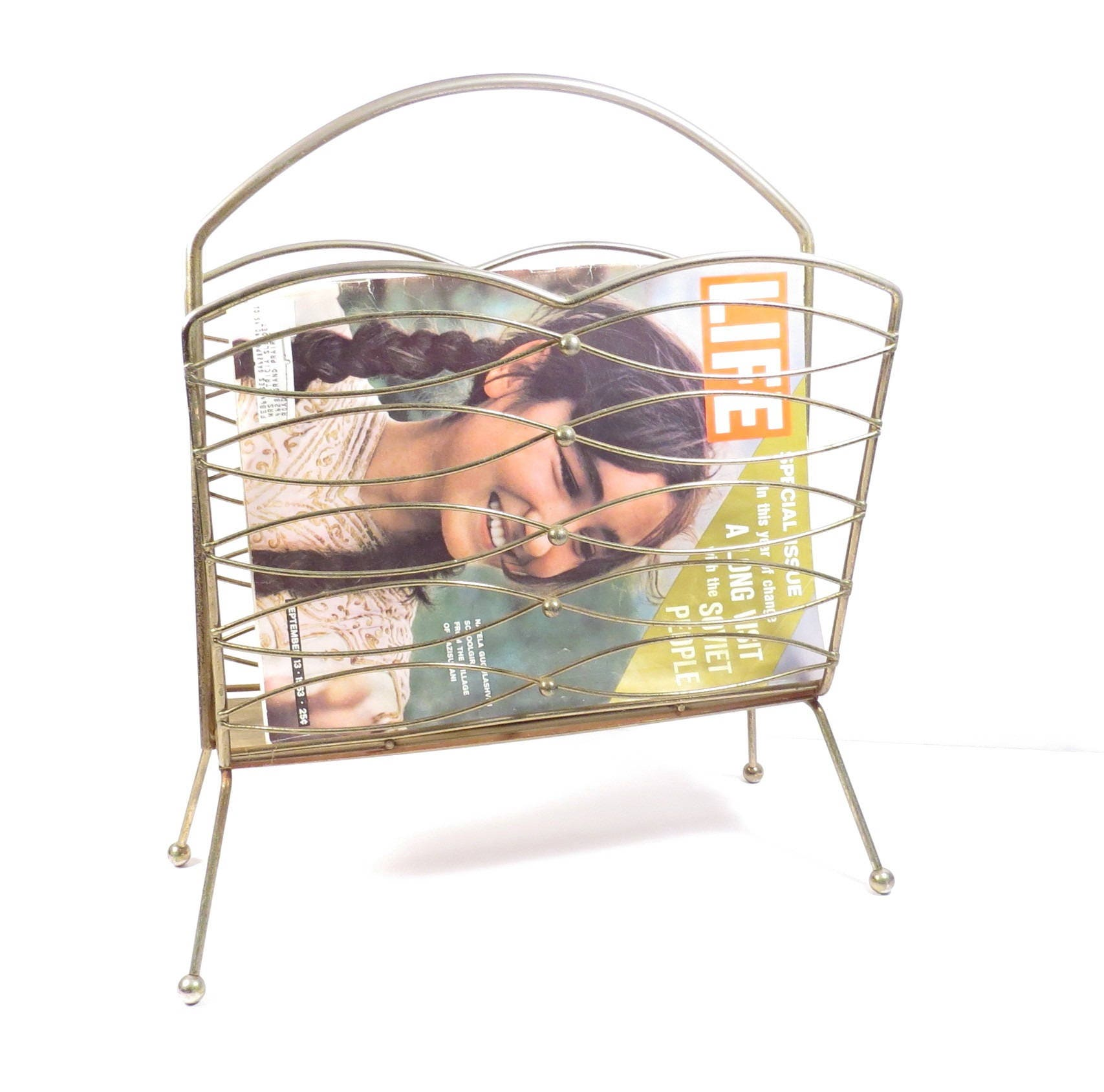 mid century wire magazine rack vintage 1950s 1960s atomic era. Black Bedroom Furniture Sets. Home Design Ideas