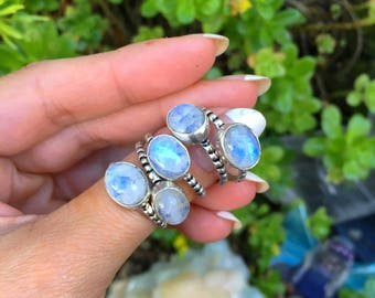 Rainbow Moonstone Ring, Sterling Silver Ring, Crystal Ring, Gemstone, Bohemian, Boho, Gypsy, Hippie, Witch, Energy, Reiki, size 7 8 9  Ring