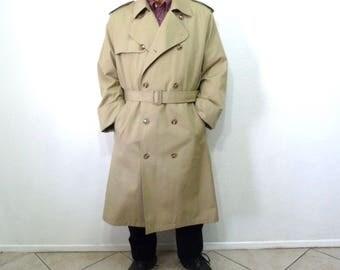 Vintage Trench Coat Misty Harbor Double Breasted Raincoat Warm Removable Plush Lining Men 44 Long Large