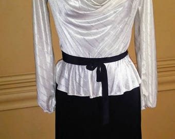 Vintage early 80's does 40's Peplum Black and White Dress