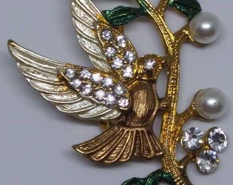 Vintage 60s Bird Brooch Pin Faux Pearls and Rhinestones
