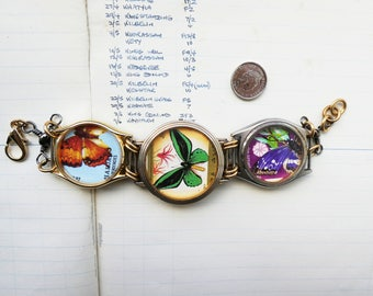 Handmade - butterfly butterflies bracelet - OOAK - watch cases bracelet - vintage  postage stamps bracelet - eco gift - stamp collector