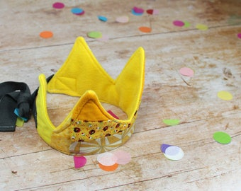 ADORE Patchwork fabric crown in yellow