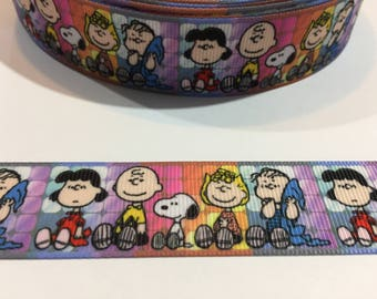 3 Yards of Ribbon - Multi Colored Peanuts Gang 1 inch Wide