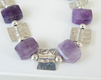 Handmade Vintage Sterling Silver 925 Natural Purple Fluorite Station Link Modern Bracelet