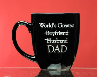 World's Greatest Dad black coffee mug - pregnancy reveal - new dad gift - first time dad gift - pregnancy announcement - Father's Day