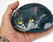 Black and white cat, hand painted on stone