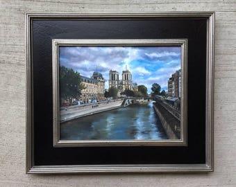 Paris Original Oil Realism Painting - 14x11in