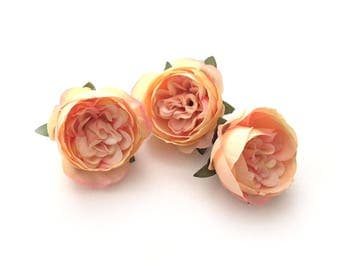 3 Small PEACH PINK Cabbage Peonies  - Artificial Flower Heads