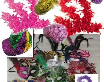 40 piece lot of Mask mardi gras  masks masquerade party favors  wedding  sweet 16 quinceanera feather boas hat picture props Free Shipping