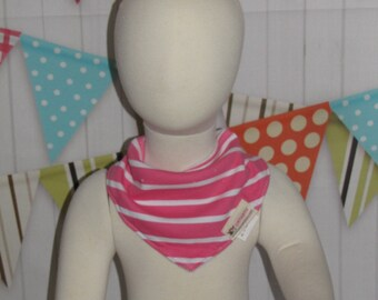 new baby toddler girl  one piece bandana bib hot pink stripes FREE shipping with 25 dollars purchase