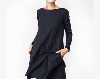 SALE - Dress with bow | Fall dress | Dark blue dress | LeMuse dress with bow