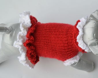 Dog Sweater - Christmas - Red Dog Sweater - XS - Extra Small - Small Dog Sweater - Sweater for Dog - Puppy Clothes