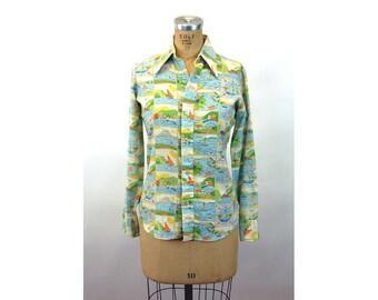 1970s Levi's shirt novelty shirt linen long sleeved boating lake nautical theme Size M