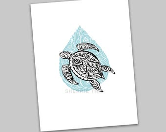 Tribal Underwater Turtle Animal Design, Polynesian Hawaiian Tattoo Art Style, Art Print, Sale