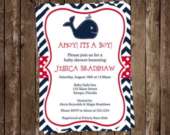Whale, Baby Shower, Invitations, Boys, Chevron, Stripes, Navy, Red, Little Squirt, Nautical, 10 Printed Invites, FREE Shipping, WHLNR