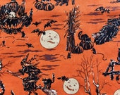 Halloween fabric, RJR Halloween Night, OOP, rare, 2007 vintage print, orange black, by the yard, please read