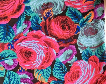 Philip Jacobs Glory Rose, black, OOP, rare, http,  roses fabric, by the half yard