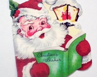 Santa Gift Tags - Set of 4 - Retro Christmas - Book Of Wishes - Streetlight Tag - Vintage Xmas - Santa Checks List - Holiday Tag - Xmas Tag