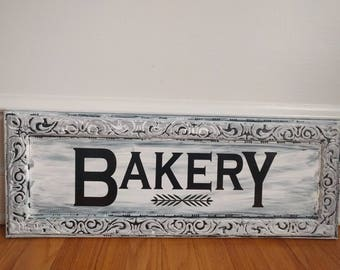 Bakery sign, Farmhouse Bakery sign, metal Bakery sign about 9x24 inches FREE Shipping US